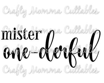 Mister One-derful SVG file // First Birthday Svg // 1st birthday Cut File // Mister Onederful Silhouette File // Cutting File // SVG file