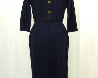 1950s Stacey Ames navy blue wiggle dress w/kimono sleeves!