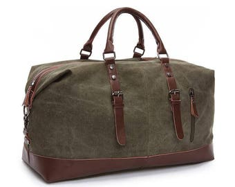 5-Groomsmen Traveler Duffle Bags, Father's Day Gifts, Weekend Bag personalized-Tan or Olive Color