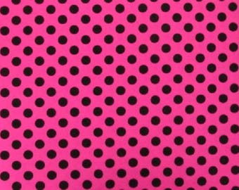 Black Spots on Pink Nylon/Spandex approx 150cm wide x 50cm