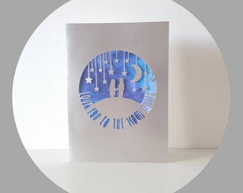 Love you to the moon and back - Papercut Greeting Card - Watercolour Galaxy Card