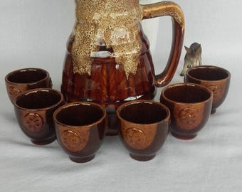 Ceramic Vintage Pitcher with 6 small cups