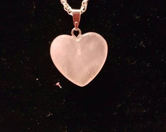 Rose quartz love heart chain