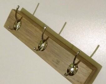 Three Hook Coat Rack. Reclaimed Wood with Nickel Coated Hooks