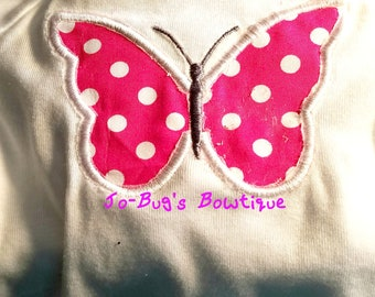 Embroidered butterfly onesie or shirt