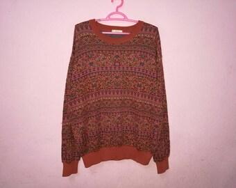 Rare!! Aby Mizuno Full Print Flower Classic Pullover Jumper Sweatshirt