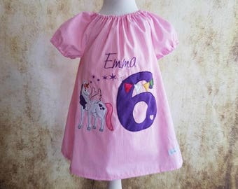 Unicorn birthday tunic pink wish number unicorn