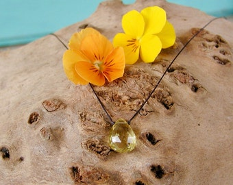 Faceted Lemon Quartz Pendant Necklace