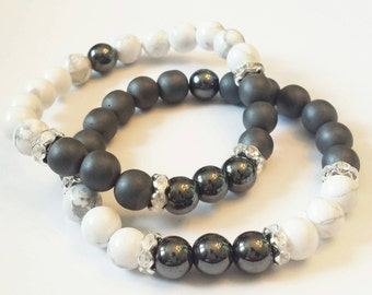 Hematite White Howlite Gemstone 8mm Beaded Healing Bracelet