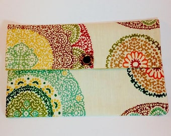 foldover clutch/ henna design/ upcycled purse/placemat clutch/ The Morganne Clutch