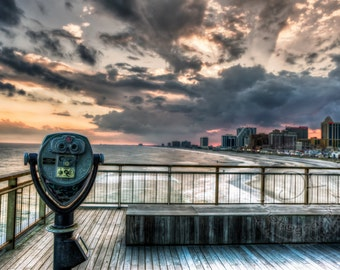Lovely Sunset, Atlantic City Boardwalk, Travel Photography, Large Wall Art Print