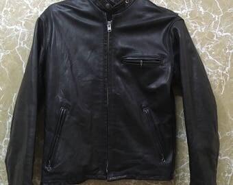 80s Schott Leather Racer Jacket saiz 38