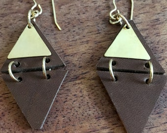 Leather and Brass Triangle earrings