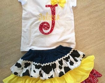 Girl's Toy Story Outfit Set, Jessie Outfit Set, Jessie Outfit, Jessie Shirt, Jessie Skirt - Jessie Shirt and Skirt Set