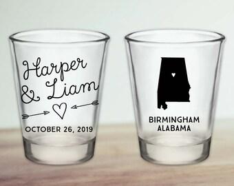 Custom Alabama Wedding Favor Shot Glasses