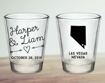 Custom Nevada Wedding Favor Shot Glasses