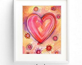 Wall art, art print, watercolor poster, inspirational print, modern print, home wall decor, apartment wall art, poster, gift, Heart
