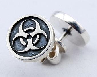 Pair of Biohazard Earrings Silver 925