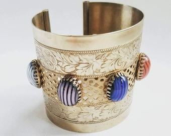 Vintage Brass and Venetian Glass Cuff Bracelet