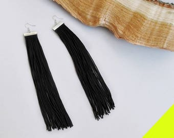 Long fringe earrings, Black earrings, READY TO SHIP, Statement earrings, Long earrings, Gift For Her, Goth Earrings, Silver Hook Earrings