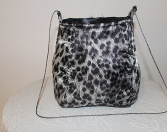 Grey and Black Leopard Handbag