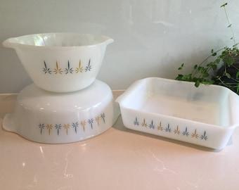 Vintage Fire King 'Candle Glow' Baking/Casserole Dish Set