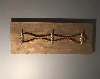 Nautical/beach coat rack with boat cleats