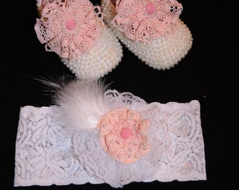 Beaded shoes and headband with feathers