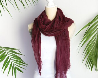 Wine cotton Scarf, Hand dyed Cotton Gauze, Hand Made Summer Scarves, Gift For Her, vinous Scarf, Soft cotton, Gauze cheesecloth