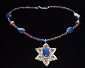 Coral and Lapis lazuli Necklace
