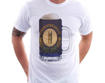 Kentucky State Flag Beer Mug Tee, Unisex, Home Tee, State Pride, State Fflag, Beer Tee, Beer T-Shirt, Beer Thinkers, Beer Lovers Tee