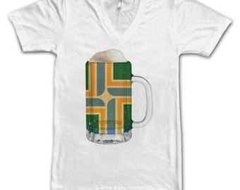 Ladies Portland Flag Beer Mug Tee, City Pride, City Flag, Home Tee, Beer Tee, Beer T-Shirt, Beer Thinkers, Beer Lovers Tee