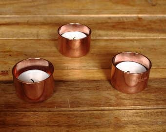 Copper pipe tealight holder / tea light holder / set of three