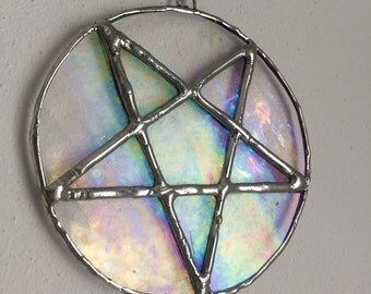 Stained glass Pentagram sun catcher, Pentagram Sun catchers, glass, Tiffanytechnik