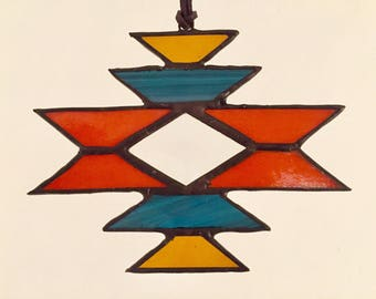 "Stained glass sun catcher ""navajo"" orange, with bevel, 12 x 15 cm"