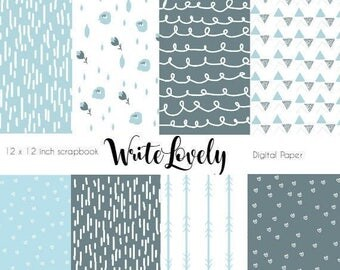 Hand drawn scrapbook paper - Digital Paper Pack - Baby Boy Baby Shower Scrapbook Paper - Digital scrapbooking - Commercial  Use