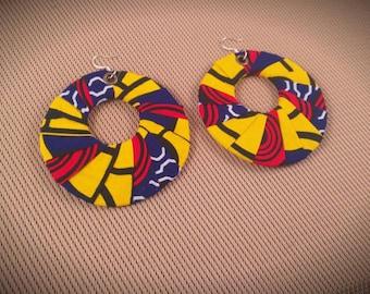 """Munaku Hoop Earrings - Ankara Earring Set - African Hoop Earrings - African Wax Print Accessory 3"""" Big Earrings - African Print Earrings"""