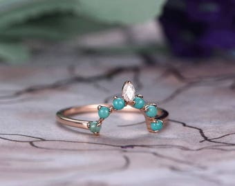 Turquoise Wedding band,14k Rose Gold,Round Cut turquoise,Anniversary ring,Promise ring,Curved Shape,Art deco Marquise,Prong,Gift for her