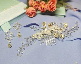 pearl hair comb + earrings