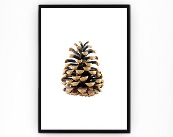 Pine Cone Print, Christmas Decoration, Forest Wall Art, Pine Tree Art, Pinecone print, Holiday art