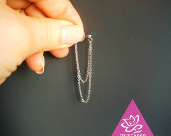 earing titanium Double Sided Double chain pendant chain 4.5cm/6cm waterproof resiste water hypoallergic