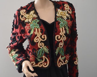 Gorgeous Diane Freis Beaded Bolero Jacket Black Velvet Sweetheart Dress M