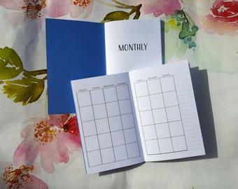 Blank Monthly, Blank Calendar, TN Insert, Fauxdori Insert, Planner Insert, Handbound 25 Cardstock Cover Colors