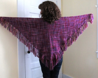 Handwoven Pink and Purple Triangle Shawl