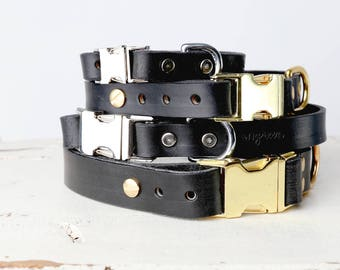 Black Leather Dog Collar -- Classic Side Release Buckle