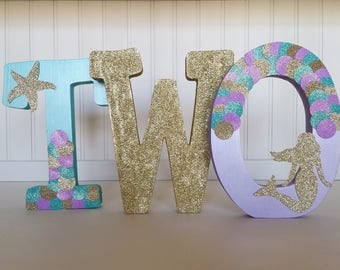 Mermaid, Under the Sea Birthday Free Standing Letters//Free Standing Nursery Initials//Purple, Teal, and Gold Birthday//Photo Prop//