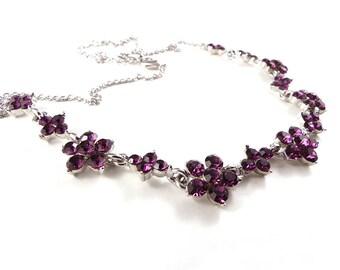 Pink flower necklace, costume jewellery, vintage jewellery, dainty necklace, rhinestone necklace, magenta flower necklace, 1990' necklace.