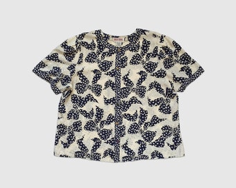 Vintage 1980's Maggy London 100% Silk Short Sleeve Blouse in Ivory and Navy Bow Print Women's 22