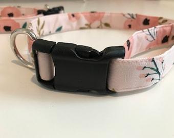 Cute Female Dog Collar, Pink Floral Dog Collar