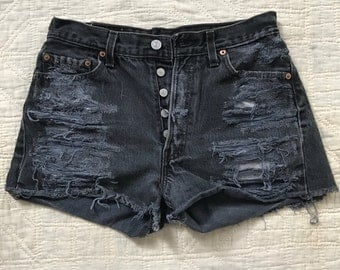 Vintage Levis cut off shorts distressed 501s w28